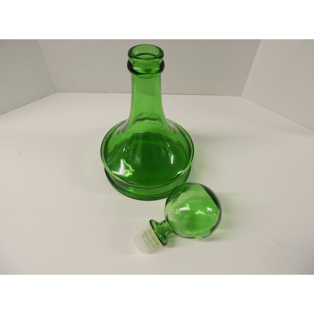 Vintage Green Glass Wine Decanter - Image 4 of 4