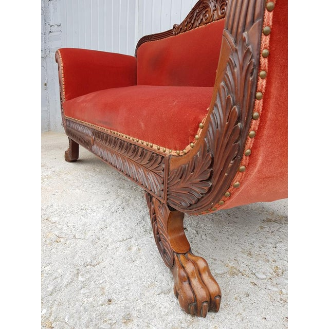 Antique French Cherry Massive Empire Red Velvet Upholstery Sofa Canape For Sale - Image 9 of 12