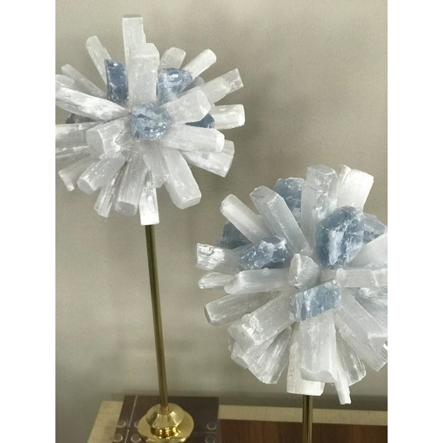 Abstract Selenite Sculptures on Glass Cube Stands - a Pair For Sale - Image 3 of 5