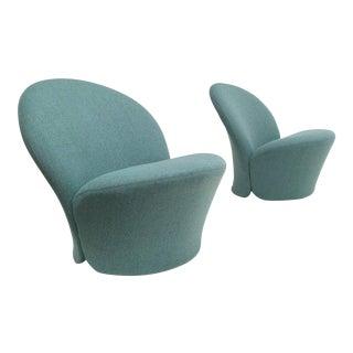Rare Pair of Pierre Paulin F572 Chair for Artifort 1967 Aqua Marine Ploeg Wool