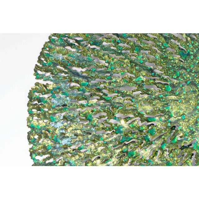 Abstract Green and Gold Iron Seaweed Wall Sculpture by Fabio Ltd For Sale - Image 3 of 6