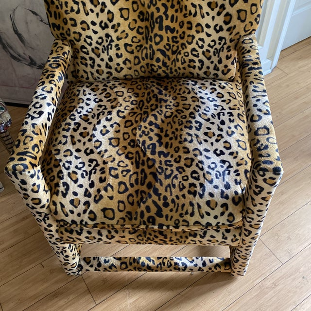 Velvet Cheetah Newly Upholstered Parsons Chairs - a Pair For Sale In Atlanta - Image 6 of 11