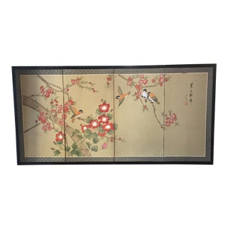 Birds on Cherry Blossom Asian Silk Painting For Sale