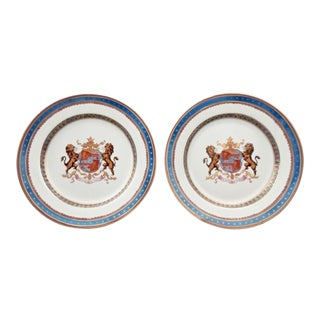 Faux Armorial Samsom & Cie Chinese Export Style Porcelain Plates - A Pair For Sale