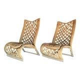 Image of Rare Large Leather Lounge Club Chairs by Marzio Cecchi- a Pair - Italian Italy Mid Century Modern Palm Beach Boho Chic Designer For Sale
