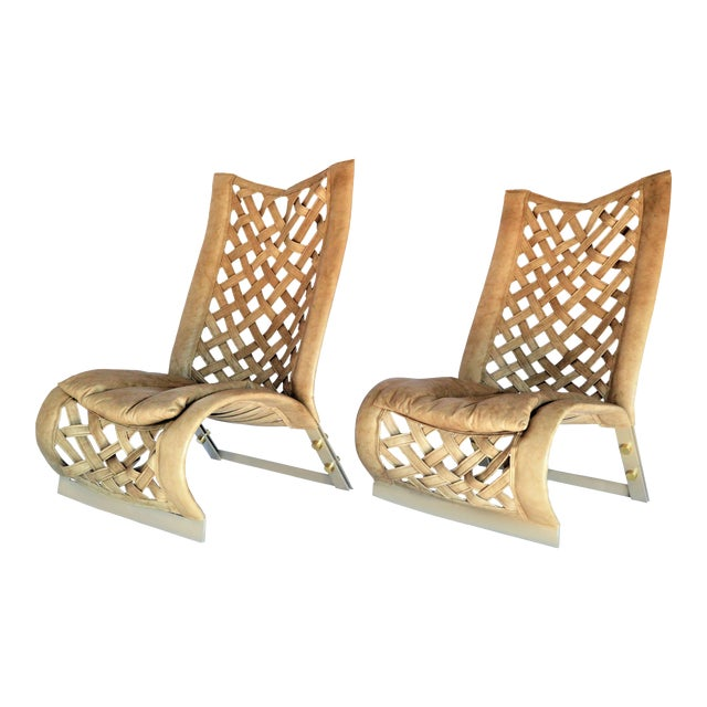 Rare Large Leather Lounge Club Chairs by Marzio Cecchi- a Pair - Italian Italy Mid Century Modern Palm Beach Boho Chic Designer For Sale