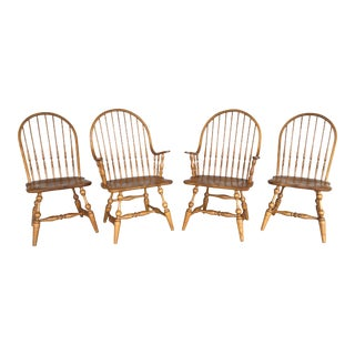 L. Hitchcock Solid Oak Brighton Windsor Dining Chairs - Set of 4 For Sale