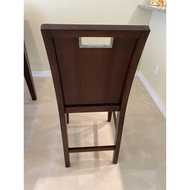 Contemporary Espresso Finished Counter-Height Dining Set From Ethan Allen - Extension Table With 6 Upholstered Chairs - 8 Pieces For Sale - Image 9 of 12