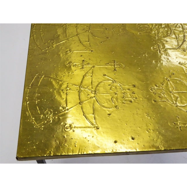MidCentury Modern Raymor Scandinavian Repousse Brass Coffee Table 1960s For Sale - Image 9 of 13