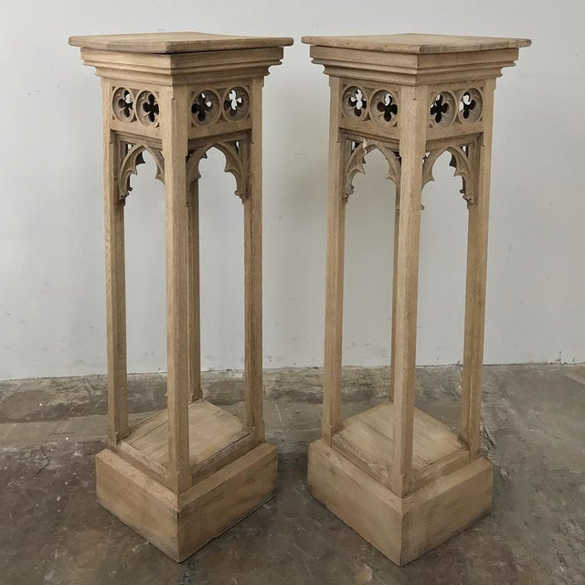 Gothic Pair 19th Century Gothic Stripped Oak Pedestals For Sale - Image 3 of 11