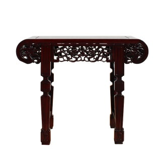 Chinese Red Brown Mahogany Stain Curved Apron Small Altar Table Stand For Sale