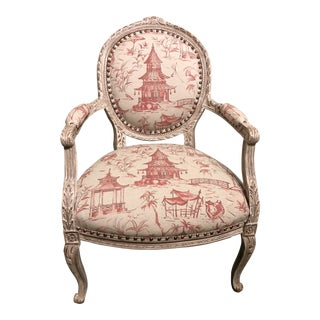 Vintage French Louis XVI Asian Linen Uphlostered Chair