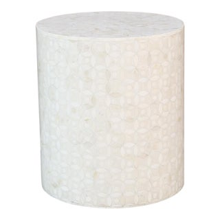 Round White Bone Inlay Drum Table For Sale