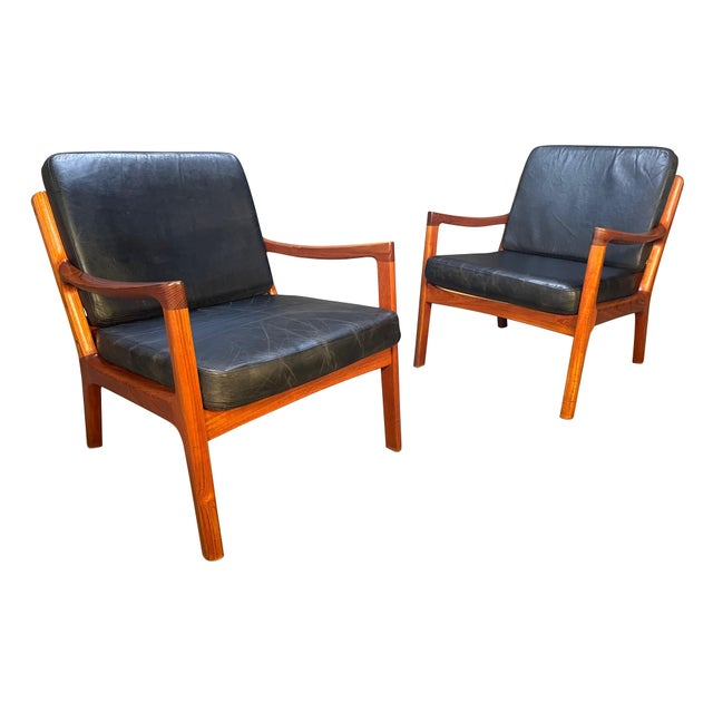 """Pair of Vintage Danish Mid Century Modern Teak and Leather """"Senator"""" Lounge Chairs by Ole Wanscher For Sale - Image 12 of 12"""
