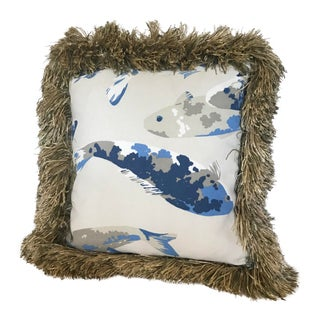 """Handmade One of a Kind """"Blue Fish"""" Designer Pillow For Sale"""