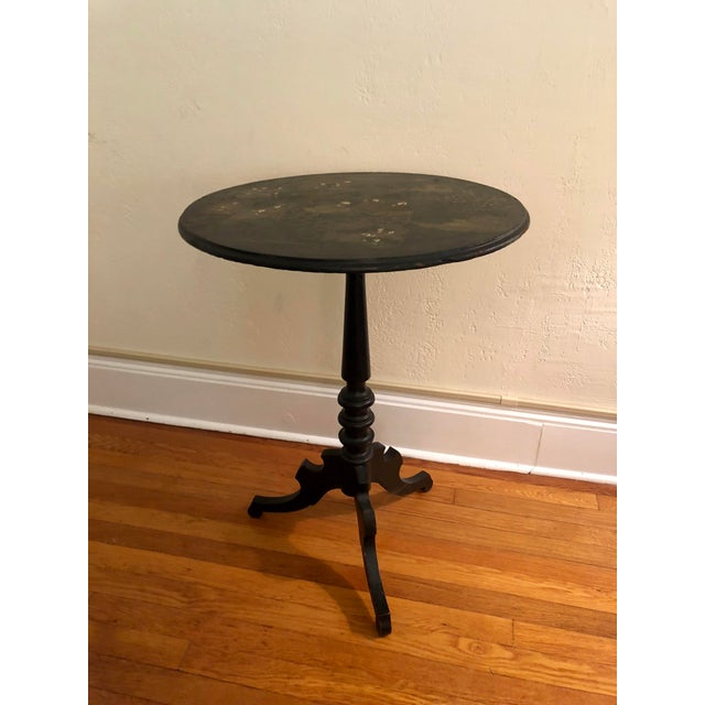 Gold Antique Black Tilt Top Table With Painted Gold Chinoiserie Scene For Sale - Image 8 of 13