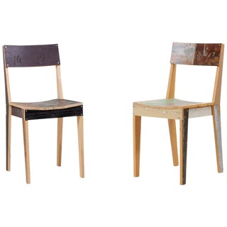 Pair of Untreated Oak Chairs Made of Scrapwood by Piet Hein Eek For Sale