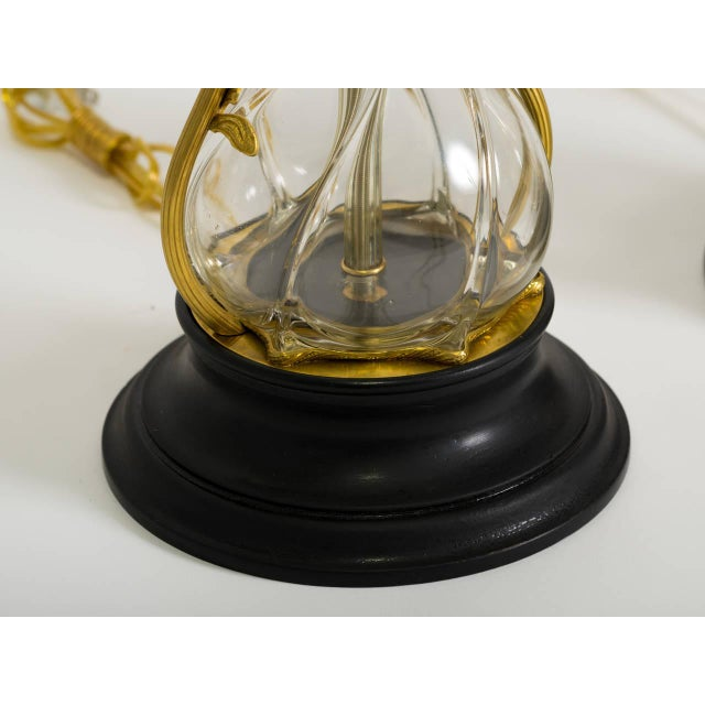 Art Nouveau Brass and Art Glass Lamps - a Pair For Sale In New York - Image 6 of 8