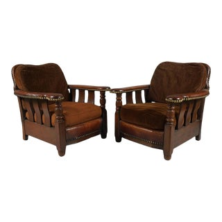 1920s Vintage Arts & Crafts Leather Armchairs - a Pair For Sale