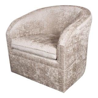 Mid-Century Modernist Swivel Chair by Milo Baughman in Crocodile Velvet For Sale