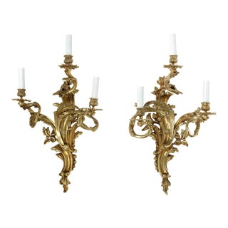 Louis XV Style Gilt Bronze Three Arm Sconces - a Pair For Sale