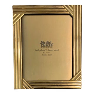 "Vintage 70's Solid Brass Photo Frame, 8""x10"" For Sale"