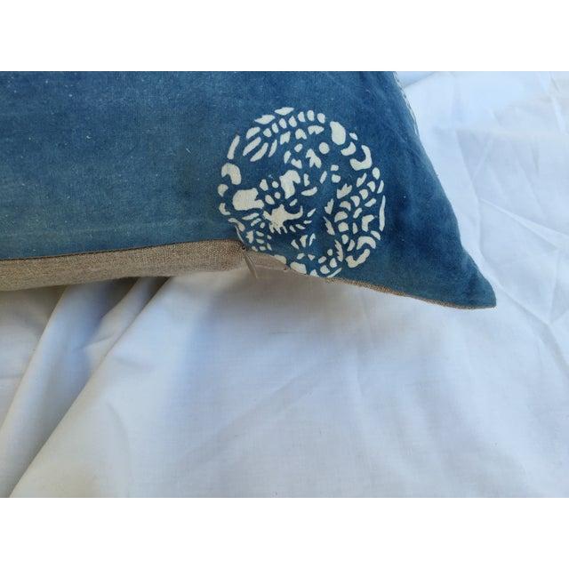 Boho Chic Faded Indigo Batik Body Pillow For Sale - Image 3 of 6