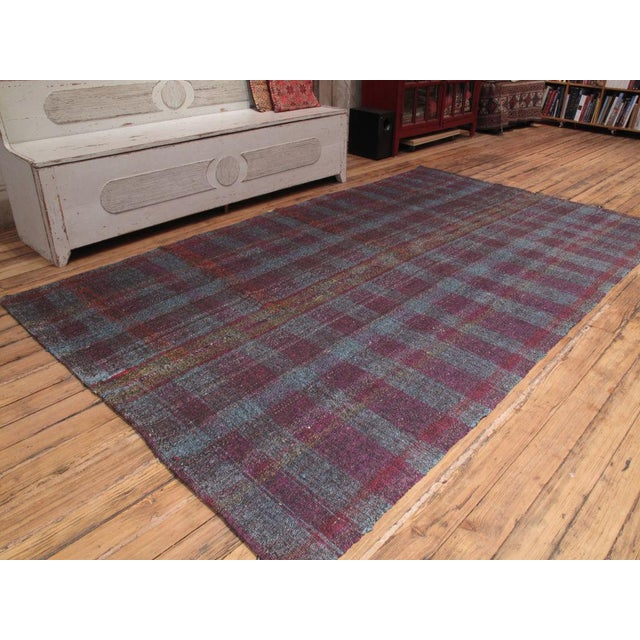 Vintage Turkish kilim woven using re-cycled cotton fabric, wool and goat hair. This is a technique used by weavers all...