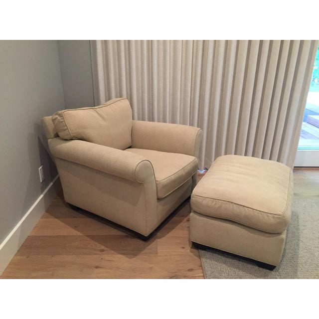 Traditional Mike Furniture Chair & Ottoman For Sale - Image 3 of 3