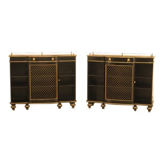 Vintage Regency Style Black Lacquer Console Cabinets - A Pair