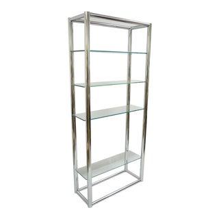 Mid Century Modern Tubular Chrome Etagere Bookcase Glass Shelf Baughman Style For Sale