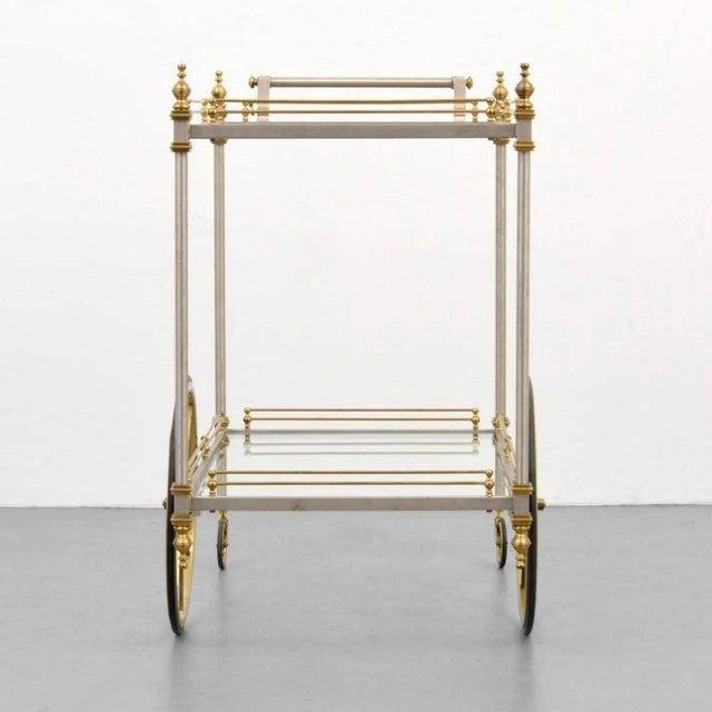 Gorgeous chrome and brass bar/tea cart by Maison Jansen.