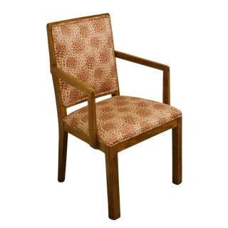 Late 20th Century Vintage Davis Cabinet Co. Solid Walnut Upholstered Dining Arm Chair For Sale