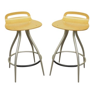 Pair of Calligaris Counter Bar Stools Chairs Kitchen Island Italian Modern B For Sale