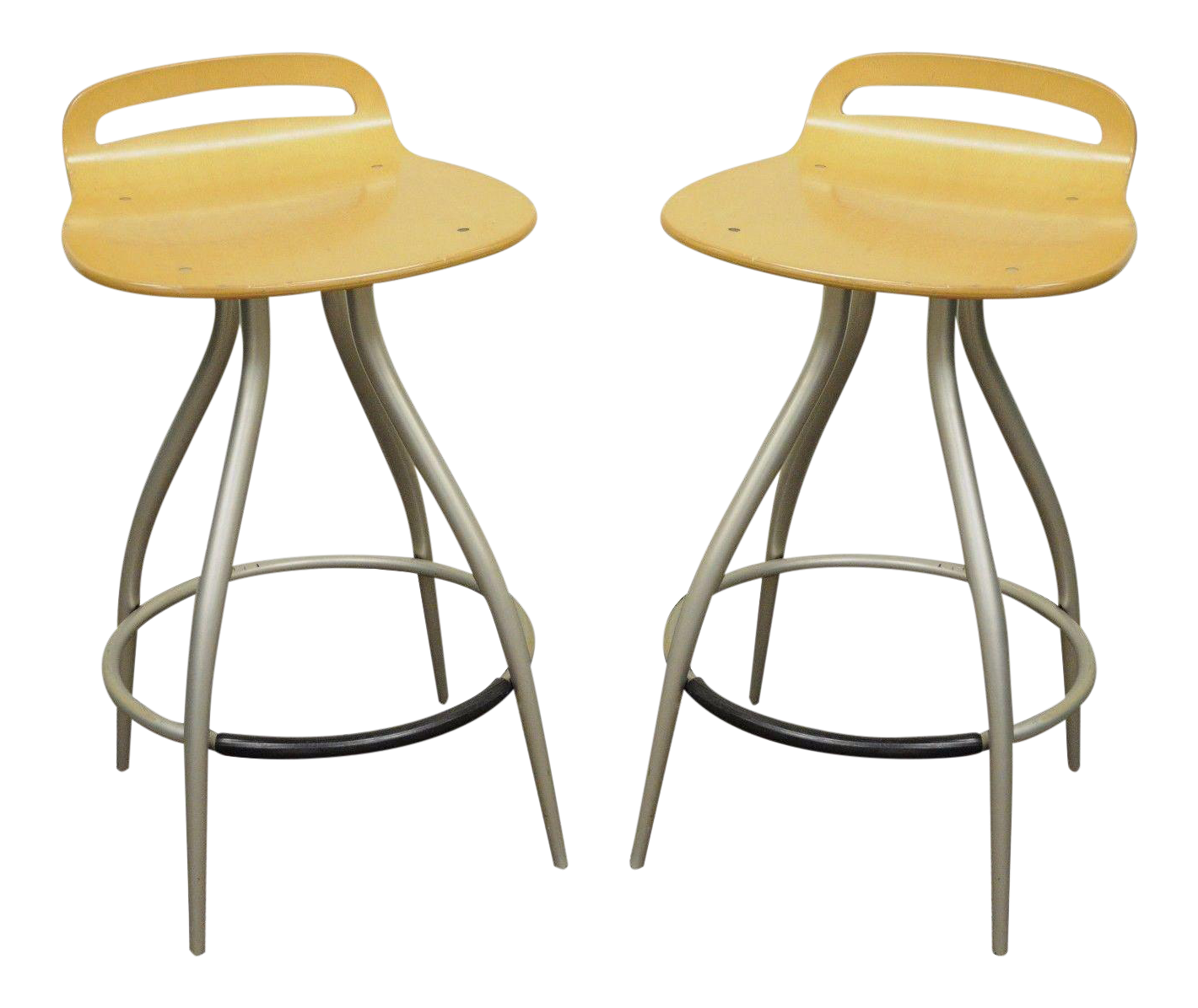 Charmant Pair Of Calligaris Counter Bar Stools Chairs Kitchen Island Italian Modern B