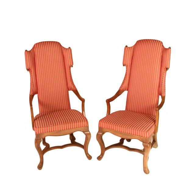 Drexel Wingback Arm Chairs - a Pair For Sale - Image 5 of 5