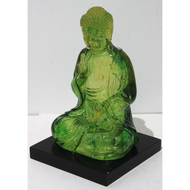 Vintage Seated Buddha Green Translucent Lucite Black Base For Sale - Image 11 of 12