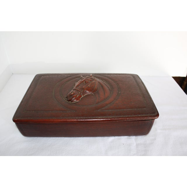 Syroco Midcentury Wood Box with Horse Head Detail - Image 4 of 7