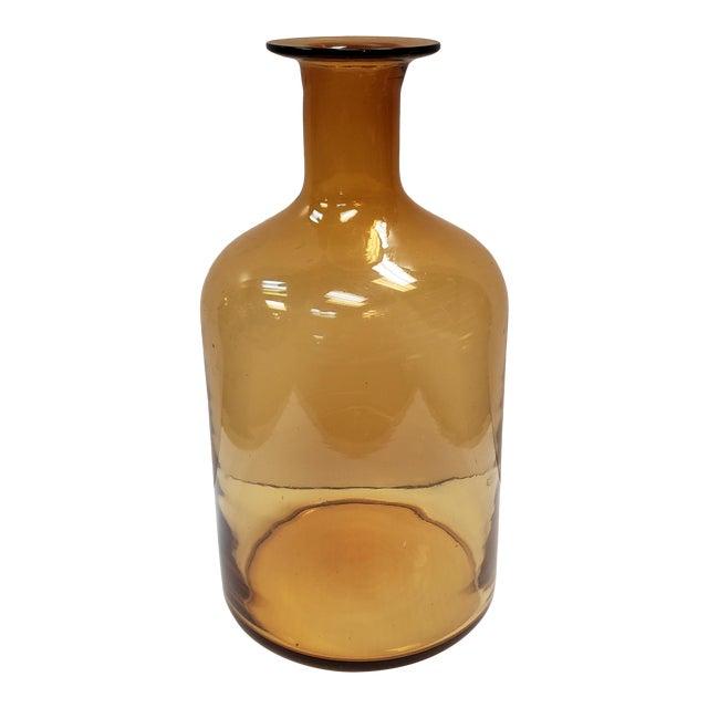 Vintage Danish Mid Century Modern Holmegaard Style Topaz Glass Gulvvase For Sale
