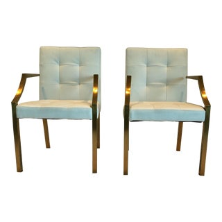 Neuvo White Leather and Brushed Gold Dining Armchairs - a Pair