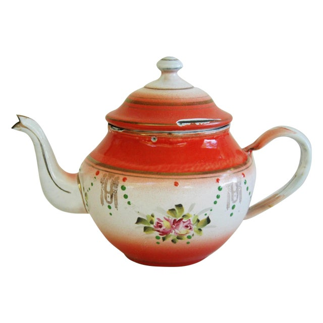 1930s French Enamelware Hand-Painted Teapot - Image 1 of 7