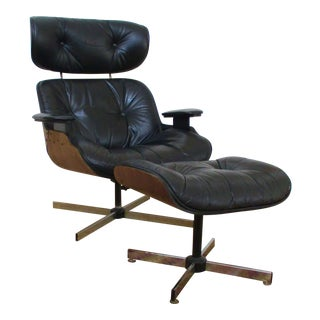 Eames Era Black Plycraft Lounge Chair & Ottoman For Sale