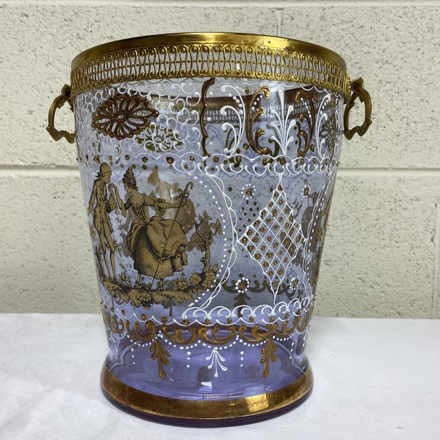 Hand Painted Venetian Glass & Brass Ice Wine Bucket For Sale - Image 9 of 10