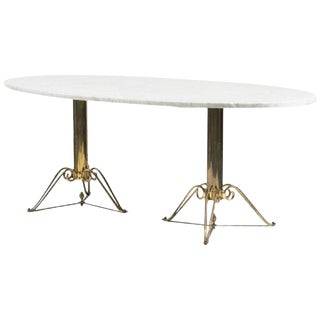 Mid-Century Modern Brass and Marble Dining Table For Sale