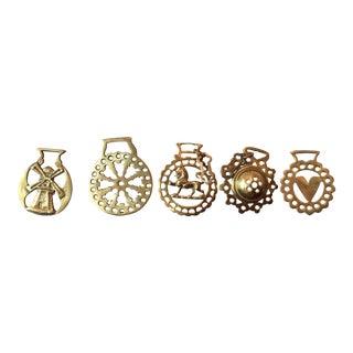 Vintage Brass Equestrian Medallions - Set of 5