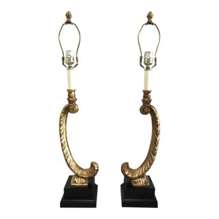 Traditional Ostrich Feather Lamps - a Pair For Sale