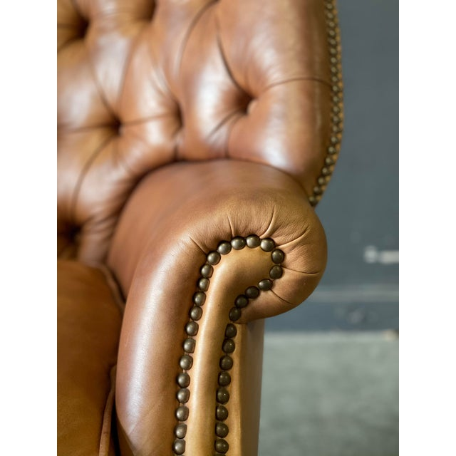 Mid 20th Century Leather Wing Back Chair For Sale - Image 5 of 10