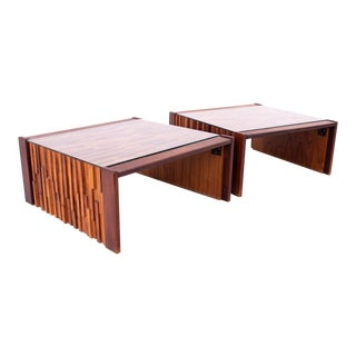 Percival Lafer Brazilian Brutalist Mid Century Jacaranda Mosaic Coffee Side End Tables - a Pair For Sale