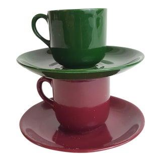 Burgundy & Green Porcelain Tea Cups & Saucers - Service for 2 For Sale