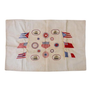 Early 20th Century Embroidered Nautical Flag For Sale